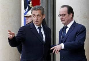 manifestazione a parigi sarkozy e hollande