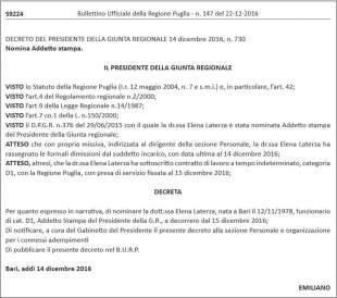 il decreto di nomina di addetto stampa di michele emiliano