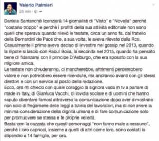 IL POST DI VALERIO PALMIERI CONTRO DANIELA SANTANCHE PER I LICENZIAMENTI A NOVELLA