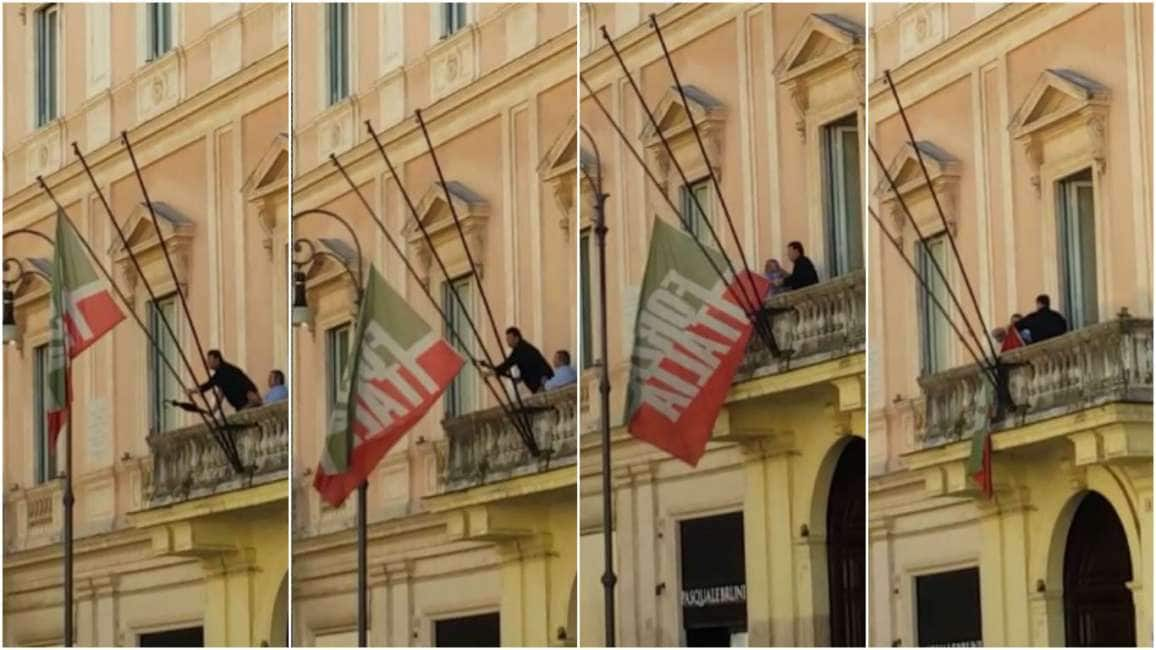 Ecco il video esclusivo dell ammaina bandiera dalla sede for Deputati di forza italia