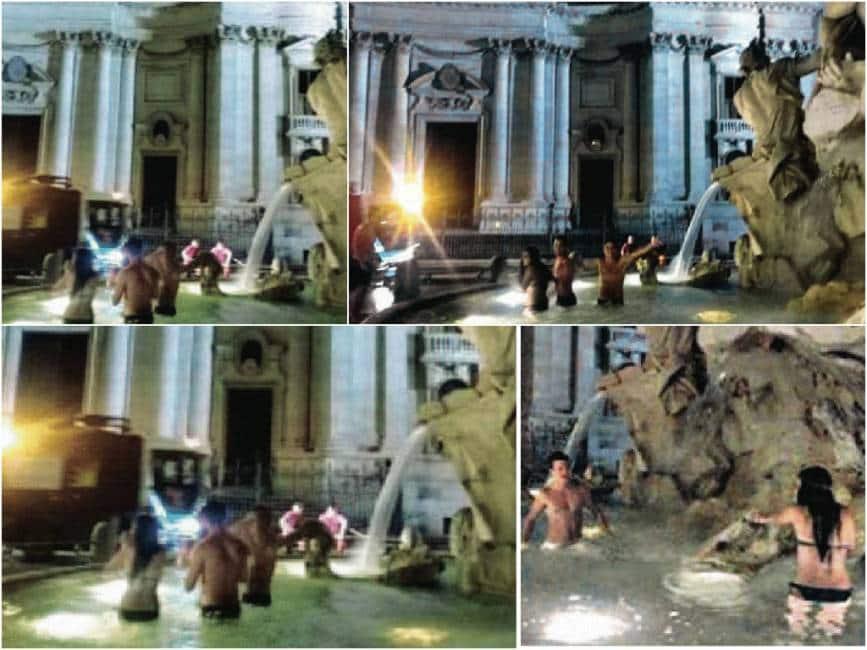 Turisti scambiano la fontana di piazza navona in una piscina le foto del bagno dei nuovi barbari - Fontana per piscina ...