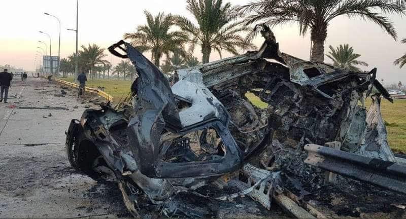 l'auto distrutta di Soleimani