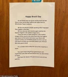Happy Brexit Day - il volantino choc in un condominio di londra