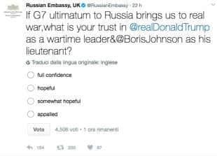 i tweet strafottenti dell ambasciata russa di londra