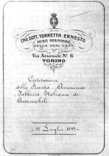 l'atto costitutivo della fiat datato 11 luglio 1899