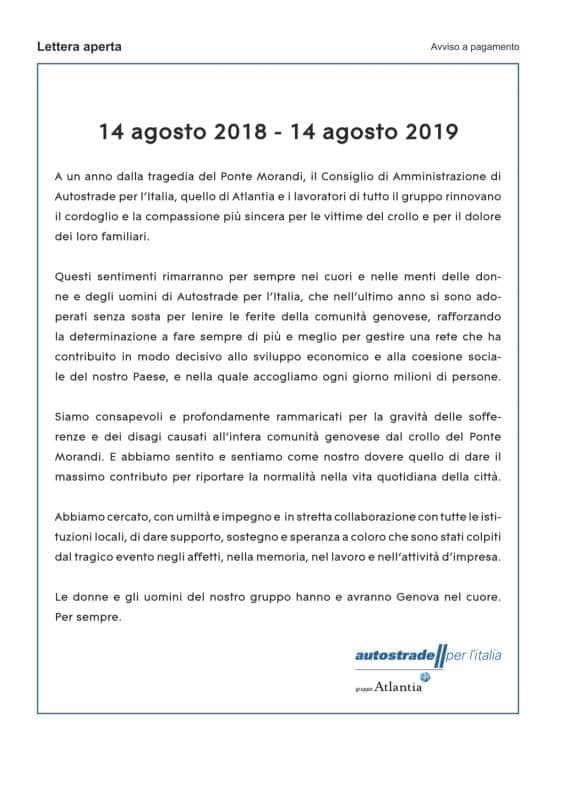 LA LETTERA APERTA DI ATLANTIA - AUTOSTRADE PER L'ITALIA A UN ANNO DAL CROLLO DEL PONTE MORANDI