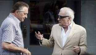 robert de niro e martin scorsese sul set di the irishman 1