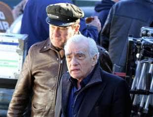 robert de niro e martin scorsese sul set di the irishman