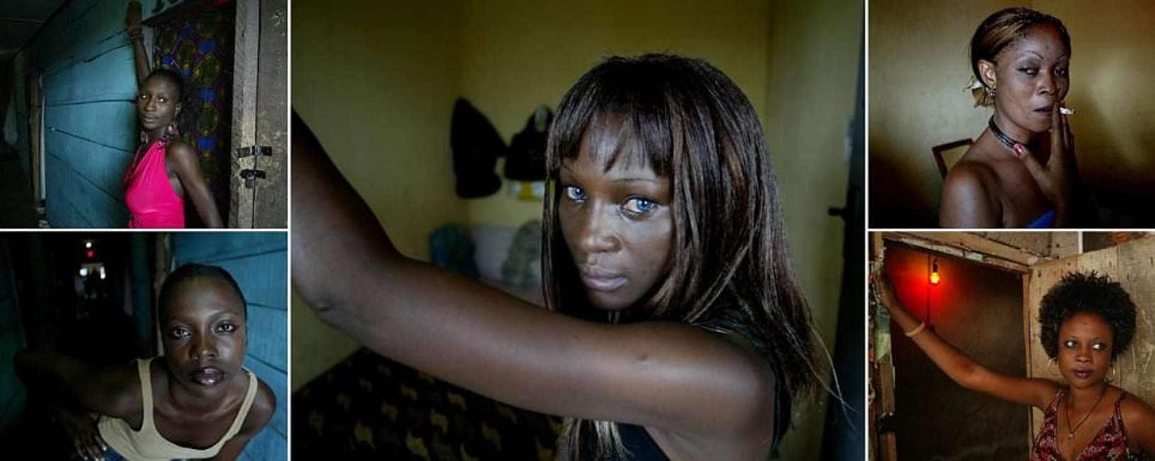 donna nera che risale un uomo nigeriano
