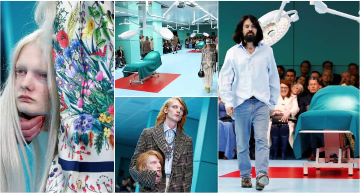 1c6a8fa0ea la passerella come sala operatoria-alla milano fashion weeek modelli con le  teste mozzate per gucci - Media e Tv