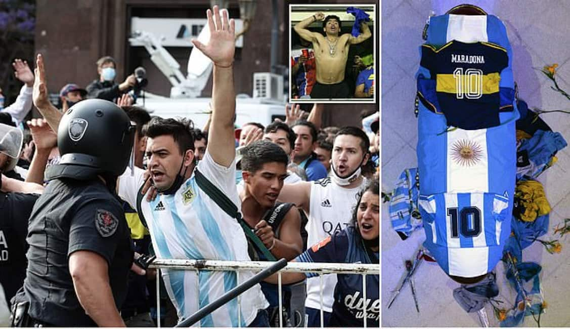L'ARGENTINA E' SOTTO CHOC PER LA MORTE DI MARADONA, A BUENOS AIRES I TIFOSI SI SCONTRANO CON LA POLIZIA....